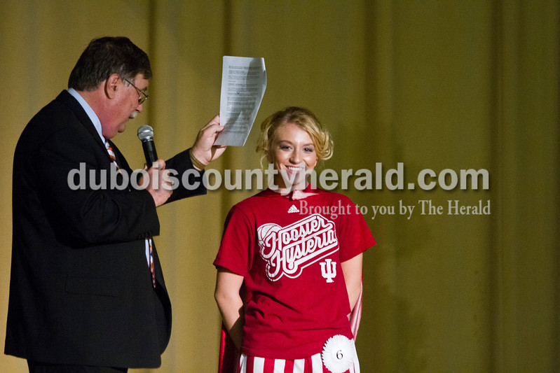 Elli Schank of Holland, 17, said that her contribution to the Holland community was positivity and enthusiasm during the Miss Holland Community Festival Scholarship Pageant on Sunday at Southridge High School. WITZ Radio host Walt Ferber of Holland emceed the event.<br /> Caitlin O'Hara/The Herald