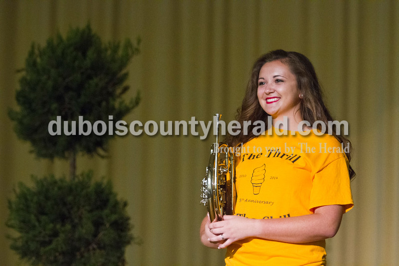 Katelyn Kendall of Holland, 17, said that her contribution to the community was through music at the Miss Holland Community Festival Scholarship Pageant on Sunday at Southridge High School. Kendall won Miss Congeniality, which was voted on by her fellow contestants, and Second Runner-up.<br /> Caitlin O'Hara/The Herald
