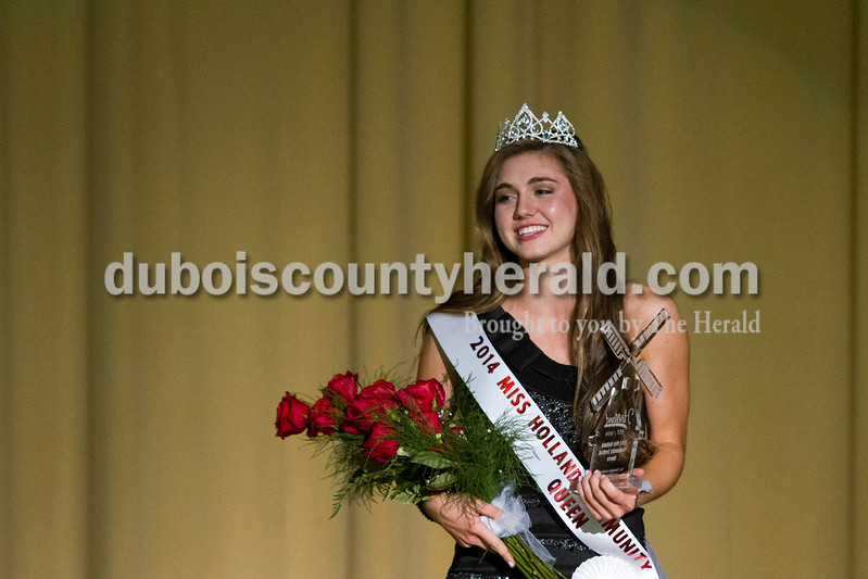Lauren Meyer of Holland, 15, smiled after winning the crown at the Miss Holland Community Festival Scholarship Pageant on Sunday at Southridge High School.<br /> Caitlin O'Hara/The Herald