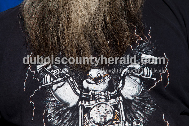 Terry Martin of Spencer sported his Popeye shirt during the 30th annual ABATE of Indiana Region 10 Southern Hills Bash at the Ireland Sportsman Club on Saturday. Heather Rousseau/The Herald