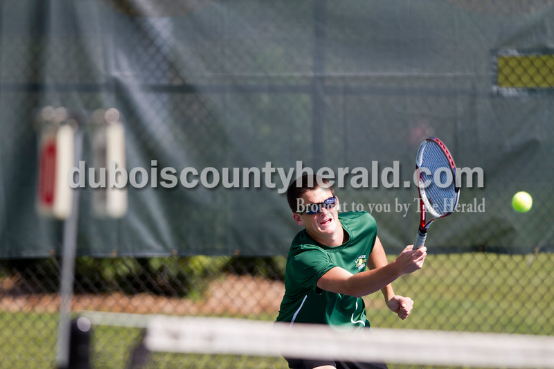 Forrest Park's David Lusk played No. 1 doubles during the Jasper Invitational on Saturday.<br /> Caitlin O'Hara/The Herald