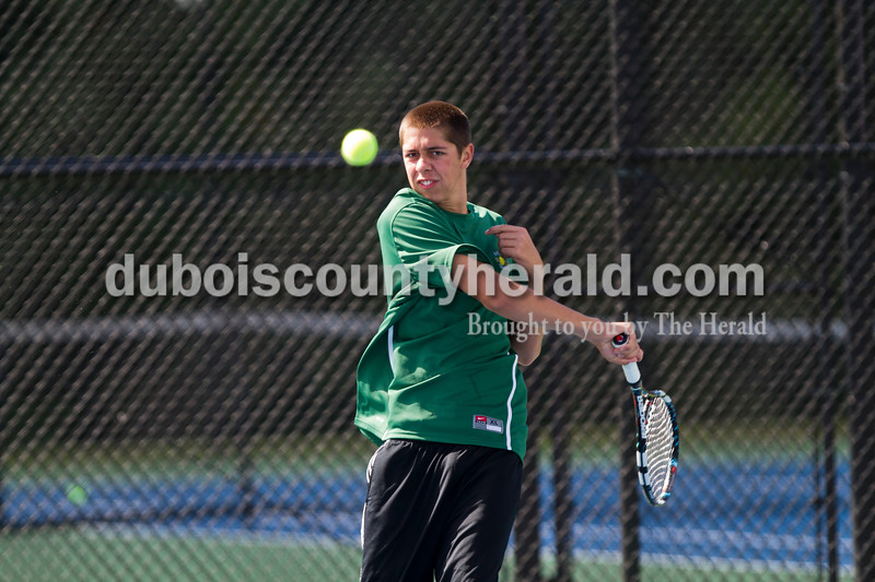 Forrest Park's Matthew Nonte played No. 1 doubles during the Jasper Invitational on Saturday.<br /> Caitlin O'Hara/The Herald