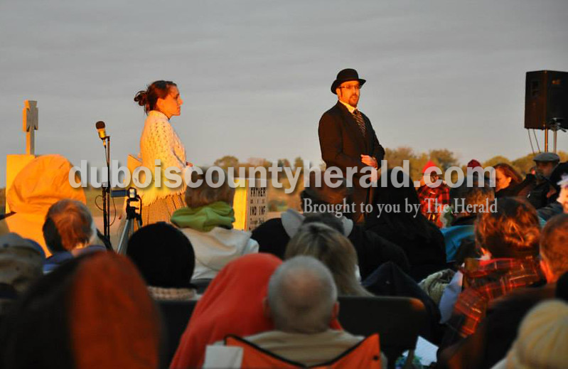 Photo courtesy of John Fischer<br /> Steffi Schmücker of Jasper, left, and Mark Knust a Schnellville native who returned home from Nashville, Tenn represented the founders of  Schnellvill, Henry and Theresa Schnell during an outdoor theater event  Voices of Schnellville: Whispers from the Past on Saturday at  the rectory of Sacred Heart Church in Schnellville. The event featuring local residents telling the stories of people from Schnellville's past.
