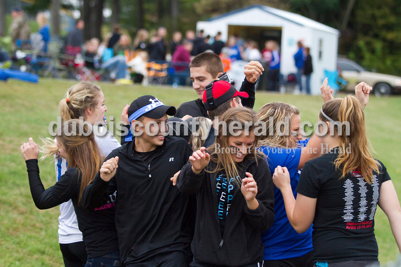 Northeast Dubois seniors danced and cheered during the 1A sectional final Saturday in Dubois. The Jeeps won 4-2 in penalty kicks after a 2-2 draw through regulation and overtime. It is the first sectional title in program history.<br /> Caitlin O'Hara/The Herald