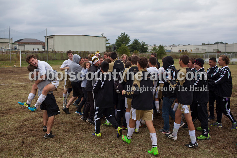 Jasper players, students and fans celebrated winning the 2A sectional final Saturday in Evansville. The Wildcats won 3-0. <br /> Caitlin O'Hara/The Herald