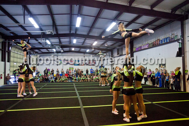 Caitlin O'Hara/The Herald<br /> The Senior Bombshells team performed during a dress rehearsal demonstration of their routine for parents at Full Out Tumble and Cheer on Saturday in Jasper. The teams (separated by age group and ability) competed in their first competition of the season this weekend.<br /> <br /> (From their Facebook: the senior F4 team (Fancy) won 1st place Grand Champions and Overall Best of Level 4, but we should call to check).