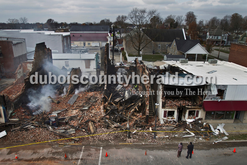 Caitlin O'Hara/The Herald<br /> Aftermath of the downtown Loogootee fire is seen on Nov. 13.