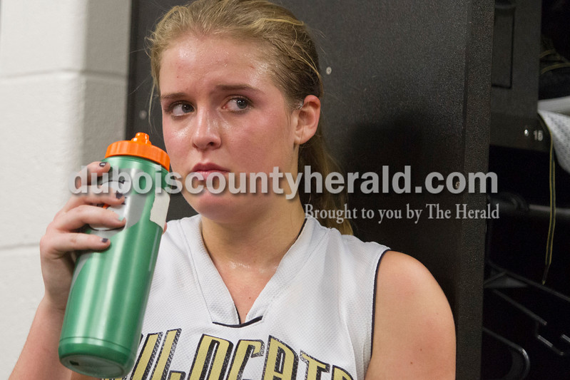 Jasper's Kirby Ruhe rehydrated during halftime of the game against Saturday in Jasper. The Raiders beat the Wildcats 49-47.<br /> Caitlin O'Hara/The Herald
