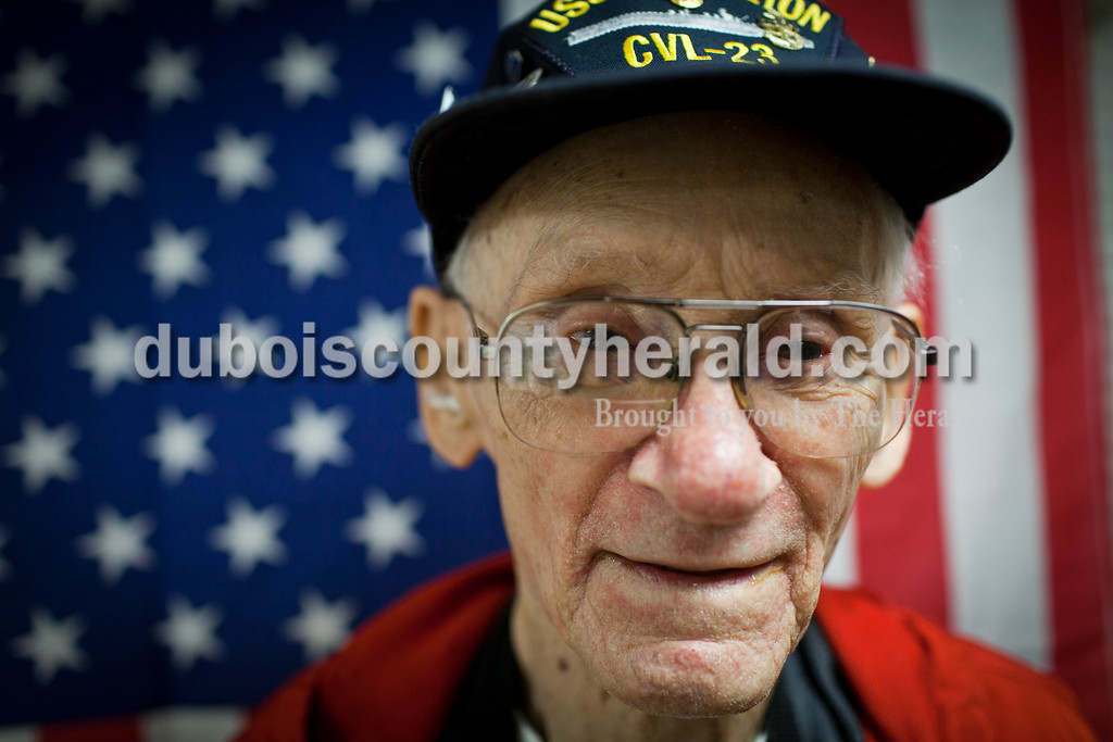Roman Kiefer, an 89-year-old resident of Northwood Retirement Community in Jasper, survived the sinking of the USS Princeton during World War II by clinging to a raft.<br /> Caitlin O'Hara/The Herald