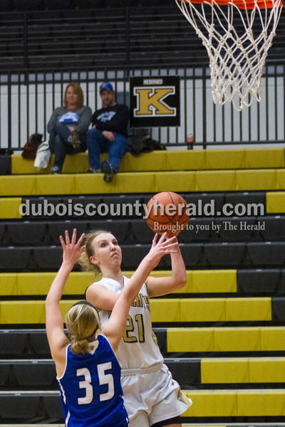 Caitlin O'Hara/The Herald<br /> Jasper's Maddison Ubelhor took a shot during the game against North Harrison on Tuesday in Jasper. The Wildcats lost 46-36.