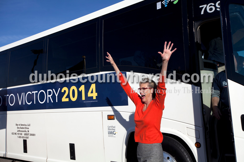 """State Auditor Suzanne Crouch reacted to a crowd of supporters as she got off the bus in Huntingburg for a Republican rally at the Huntingburg Event Center. The rally was part of a """"Road To Victory 2014"""" statewide bus tour conducted by the governor in support of candidates running for congressional, statewide and legislative offices. Heather Rousseau/The Herald"""