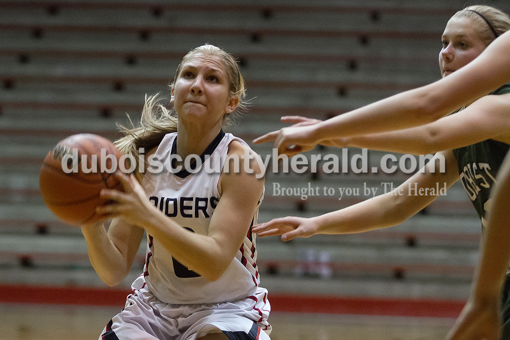Southridge's Kayla Voegerl went up for a shot during Tuesday night's game against Forest Park at Memorial Gym in Huntingburg. Rachel Mummey/The Herald