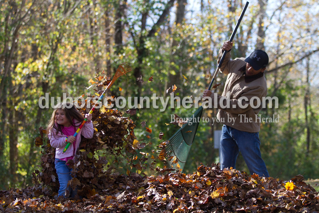 Ezequiel Uribe and his daughter Jessely, 5, shared a laugh while raking leaves at their home in Jasper. They took time from the yard work to enjoy a leaf fight or jumping in the pile every once in a while. Caitlin O'Hara/The Herald