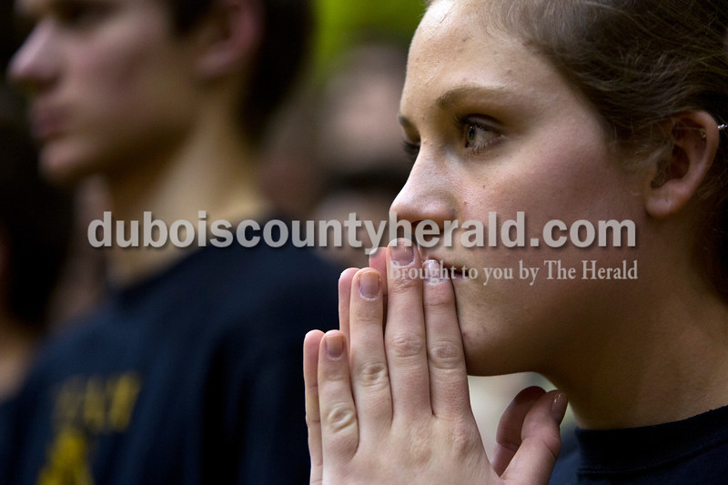 Jasper High School junior Taylor Small held her hands together during Saturday night's Class 3A sectional against Vincennes Lincoln at Washington. Jasper lost to Vincennes Lincoln 69-54.<br /> Alisha Jucevic/The Herald