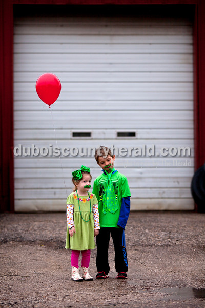 Josie Welp, 3, and her brother Jaxon, 7, both of St. Anthony during the St. Patrick's Celebration on Saturday in Ireland.