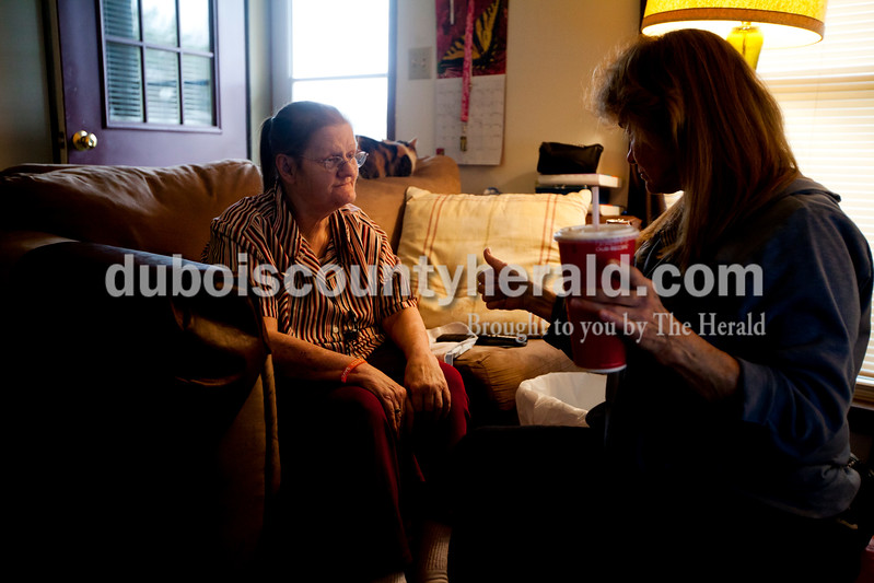 Ariana van den Akker/The Herald<br /> Cindy Taver of Ferdinand, right, asked her friend Katie Buhr of Huntingburg if she was okay before Taver left to get an overnight bag so she could stay with Buhr on Thursday night. Buhr is in the final stages of renal failure and has diabetes and congestive heart failure. She needs a kidney transplant but says that she lacks a support system. On Thursday evening, Buhr was waiting for paperwork to go through so she could move to the Waters in Huntingburg.