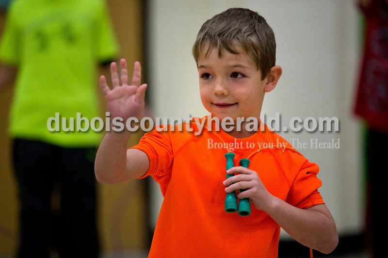 Pine Ridge Elementary first-grader Jaxon Welp waved to his friends before the jump-a-thon began  during a celebration of Wellness Week on Friday afternoon at Pine Ridge Elementary. Alisha Jucevic/The Herald