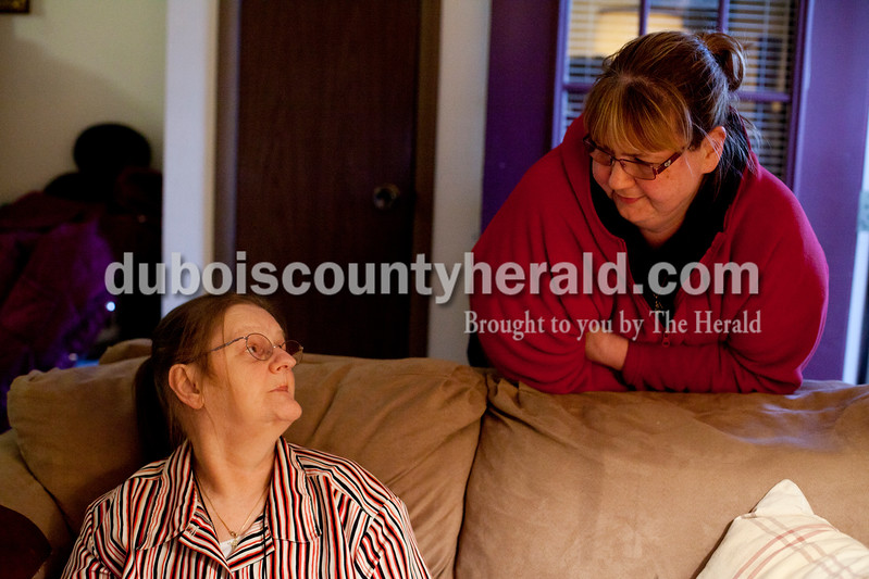 Ariana van den Akker/The Herald<br /> Katie Buhr of Huntingburg chatted with her friend Louise Allen of Jasper after Allen brought her dinner on Thursday. Buhr is in the final stages of renal failure and has diabetes and congestive heart failure. She needs a kidney transplant but says that she lacks a support system. On Thursday evening, Buhr was waiting for paperwork to go through so she could move to the Waters in Huntingburg.
