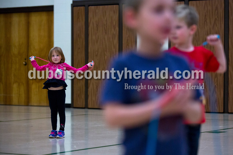 Pine Ridge Elementary preschooler Bralyn Messmer started jump roping at the jump-a-thon  during a celebration of Wellness Week on Friday afternoon at Pine Ridge Elementary. Alisha Jucevic/The Herald