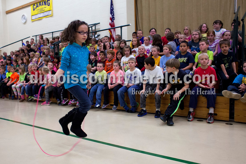Pine Ridge Elementary third-grader Anna Hulsman was one of the third graders to continue jump roping the longest during a celebration of Wellness Week on Friday afternoon at Pine Ridge Elementary. Alisha Jucevic/The Herald