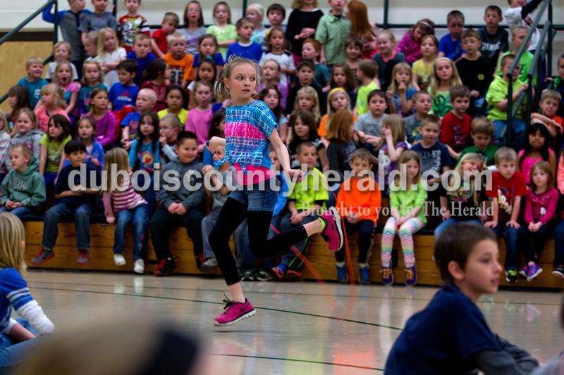 Pine Ridge Elementary fourth-grader Danielle Eckert was the last one in her grade to stop jump roping  during a celebration of Wellness Week on Friday afternoon at Pine Ridge Elementary. Alisha Jucevic/The Herald