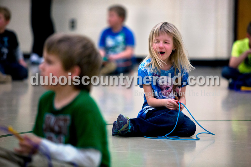 Pine Ridge Elementary first-grader Jazzmyn Cummins sang along to music as she waited for the rest of her class to finish jump roping during a celebration of Wellness Week on Friday afternoon at Pine Ridge Elementary. Alisha Jucevic/The Herald