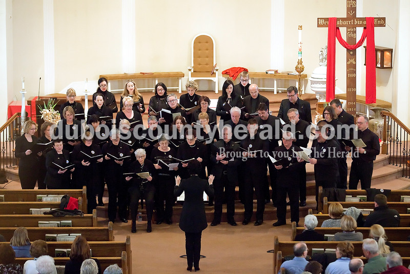 Members of the Sankt Caecilia Choir of St. Ganglof Church from Duddenhofen, Germany performed at St. Ferdinand Catholic Church in Ferdinand on Saturday evening. The group received a tour at Mary Help of Christians Church in Mariah Hill in hopes of connecting ancestral ties to the area. Rachel Mummey/The Herald