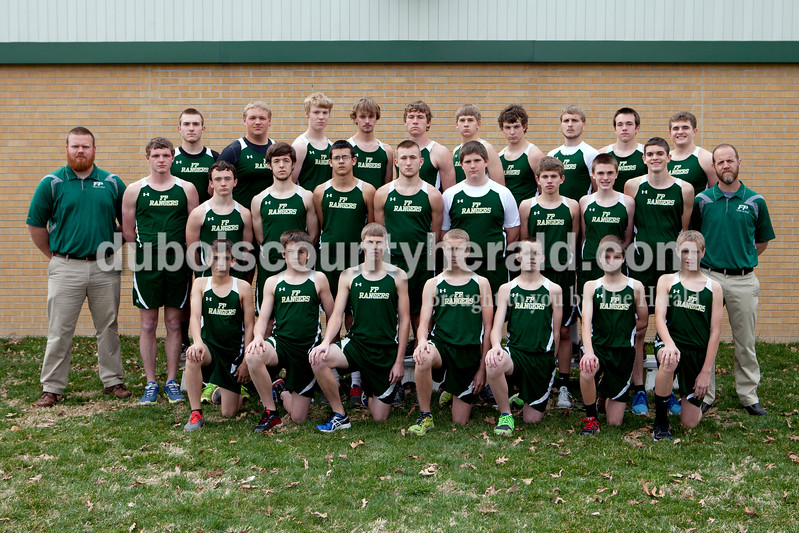 Members of the Forest Park boys track team are, from left, first row: Zach Hoffman, Ben Becher, Blake Emmert, Austin Welp, Robert Jones, Dustin Luebbehusen and Aaron Welp. Second row: Assistant coach Aaron Sickbert, Trey Dooley, Blake Egler, Emerson Thayer, Joseph Huff, Tyler Henke, Andrew Schuler, Garrison Tretter, Evan Hamilton, Blake Mohr and coach Karl Hinson. Third row: Noah Braunecker, Riley Denning, Blake Torstenson, Zach Lueken, Jhazz Bieker, Austin Knies, Zach Cline, Matthew Weyer, Dylan Buechler and Matthew Olinger.