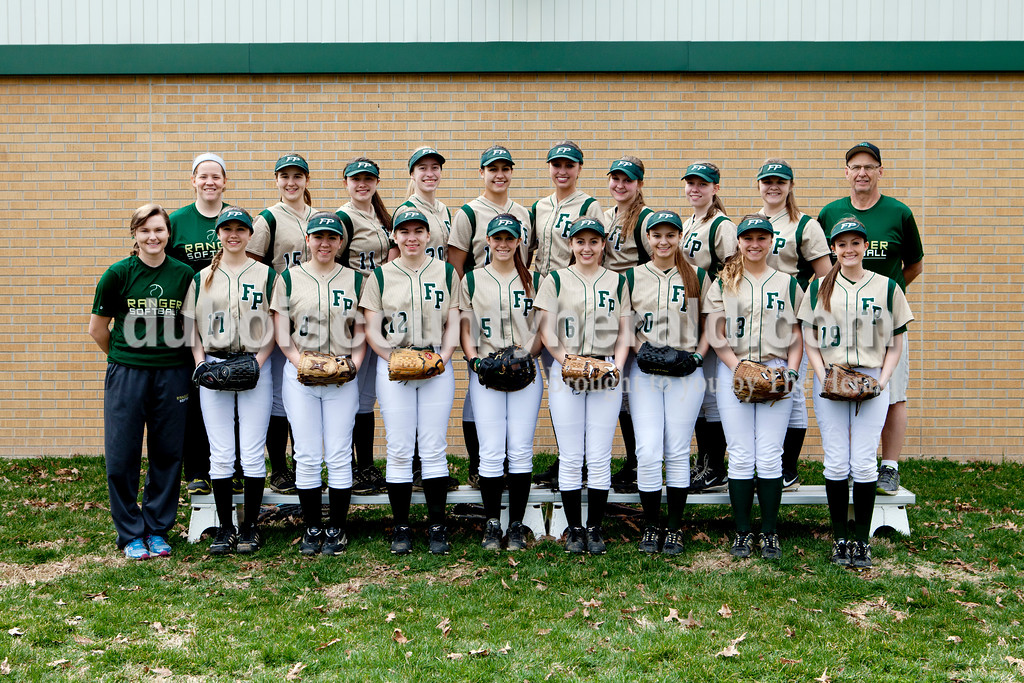 Members of the Forest Park softball team are, from left, first row: Coach Leah Miller, Lanette Blume, Vanessa Lange, Emma Hurst, Katelyn Roos, Taylor Prechtel, Taylor Nordhoff, Mariah Morgan and Lexie Lane. Second row: Head coach Kelly Schroering, Leslie Blume, Madi Giesler, Katherine Hurst,  Jordan Voges, Taylor Hopf, Taylor Bayer, Payton Begle, Selena Hildenbrand and junior varsity coach Alois Fest.