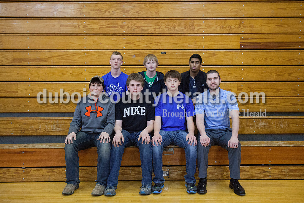 Members of the Northeast Dubois boys golf team are, from left, first row: Kale Asbell, Lucas Gutgsell, Ronnie Thewes and coach Jesse Rosborough. Second row: Patrick Betz, Noah Schepers and Fernando Garcia.