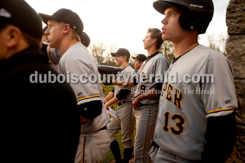 Jasper's Brandon Bayer, left, Tate Blessinger, Zach Keusch, Evan Aders and Cal Kruger cheered on their teammates at bat during Monday evening's game against Heritage Hills in Lincoln City. The Wildcats won 12-0 in six innings. Ariana van den Akker/The Herald