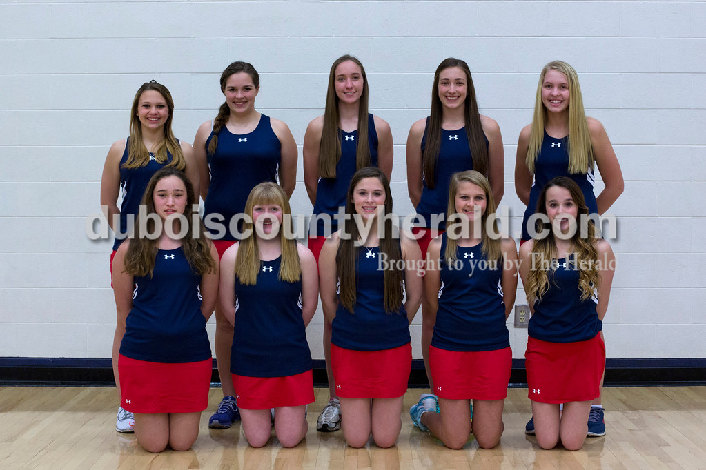 Members of the Heritage Hills girls tennis team are, from left, first row: Eryn Jochim, Kyla Dilger, Sydney Rube, Meridith Balbach and Alexis Rube. Second row: Caroline Guth, Hannah Turner, Krystal Schmidt, Kate Kaetzel and Emma Wetzel. Not pictured: Amber Schmidt and Emma Buechlein.