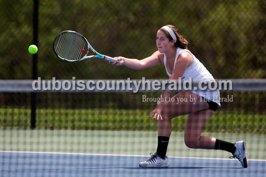 Jasper's Mallory Ahlbrand returned the ball during the match against McCracken County in the Jasper Four-Team Invitational on Saturday. Jasper lost to McCracken County 3-2. <br /> <br /> Alisha Jucevic/The Herald