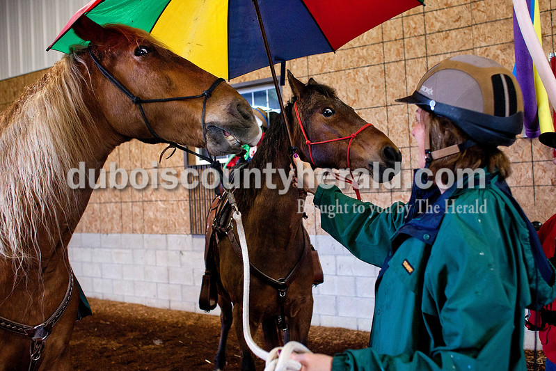 Janet Lee of Jasper and Rose Terwiske of Jasper put an umbrella over their horses to gage their reaction during a Red Hats Purple Chaps horse de-spooking clinic at A&B farms in Ireland. The horses are walked through different obstacles and next to noises that they may encounter during a parade. Terwiske said music and noises are the biggest thing she is working on with her horse, Nikki. <br /> <br /> Alisha Jucevic/The Herald