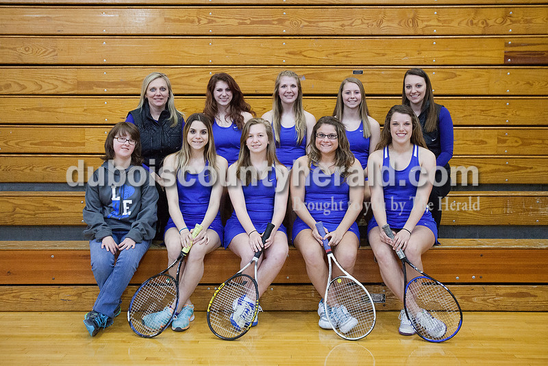 Members of the Northeast Dubois girls tennis team are, from left, first row: student manager Megan Mickler, Megan Archer, Rachel Meyer, Stefanie Archer and Megan Lueken. Second row: coach Tina Terwiske, Sara Clark, Hannah Wehr, Savannah Stafford and coach Gabbie Terwiske. Not pictured: Jenna Stemle.