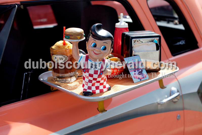 Ariana van den Akker/The Herald<br /> A drive-in display was attached to Gerry Taylor of Bedford's 1948 Studebaker Champion at the Annual Huntingburg Kiwanis Car Show on Fourth Street in Huntingburg on Saturday.