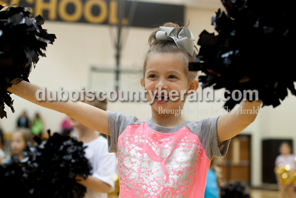 Ariana van den Akker/The Herald<br /> Myah Troutman, 6, of Jasper, cheered during High Ponies, a free cheer and dance clinic for kindergarteners to fifth-graders that includes life lessons, on Tuesday evening at Jasper Middle School.