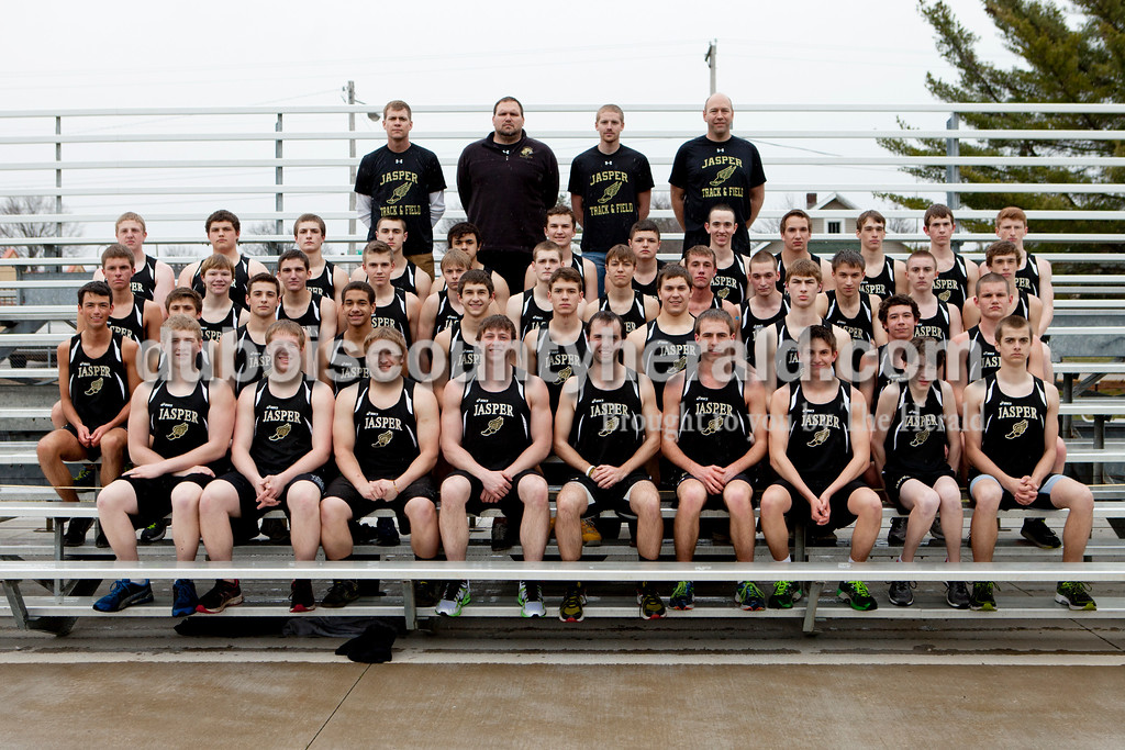 Members of the Jasper boys track team are, from left to right, first row: Collin Newkirk, Patrick Meiring, Timothy Rohlman, Austin Schmidt, Kyle Foerster, Jason Buechlein, Henry Love, Sean Woodard and Joey Moorman. Second row: Caleb Dosch, Cale Kilian, Aaron Farr, Willie Schmidt-Burnett, Elliot Prange, Hunter Gossett, Carson Englert, Luke Foster, Kelby Uebelhor and Matt Head. Third row: Tanner Lamkin, Anthony Kluemper, Chase Noggle, Noah Mehringer, Jacob Small, Brandon Wildman, Corbin Kaiser, Jace Englert, Robby Mercer, Cody Schnell, Ryan Miller and Tristan Backer. Fourth row: Damon Hayes, Hunter McCune, Ryan Ewing, Addison Hoffman, Ruben Sedeno, Bryce Siegel, Jordan Ely, Joshua DeWitt, Brett Hopf, Chris Backer, Sam DeWitt and Dawson Shively. Fifth row: Coach Aaron Hohl, coach Joe Shelton,  coach Cole Mehringer and coach Kevin Schipp.