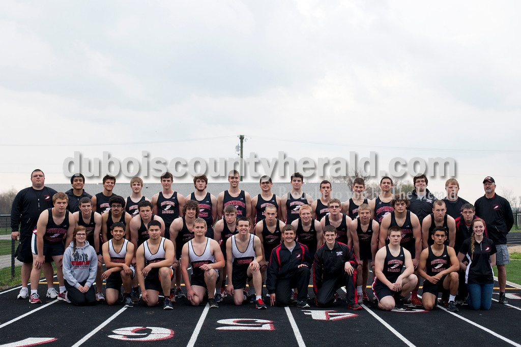 Members of the Southridge boy's track team are, from left, first row:  manager Shawna Cronk, David Rogier, Eric Ayala, Quinton Gogel, Tristen Miller, Colton O'Brien, Will Dippel, Jack Michel, Jonnathan Macias and Bailey Barrett. Second row:  Keith Neukam, Chase Bland, Jorge Dubon, Tristan Brown, Davin Songer, Brandon Crews, Treyton Hedinger, Kru Allen, Kane Sivori, Mason Herron, Mason Hartke, Christian Motteler and Gavin Deno. Third row: coach Scott Buening, Luis Cruz, Brandon Bayer, Nathaniel Pendley, Jayden Montgomery, Dylan Wight, Henry Steckler, Justin King, Moe Gropp, Kody Brown, Noah Stetter, Eric Thacker, Joey White, assistant coach Chad Wertman and assistant coach Terry Jones.