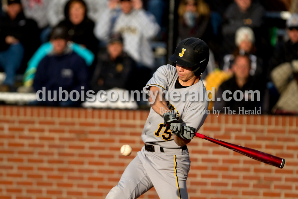 Jasper's Ben Moore hit the ball during Monday evening's game against Heritage Hills in Lincoln City. The Wildcats won 12-0 in six innings. Ariana van den Akker/The Herald