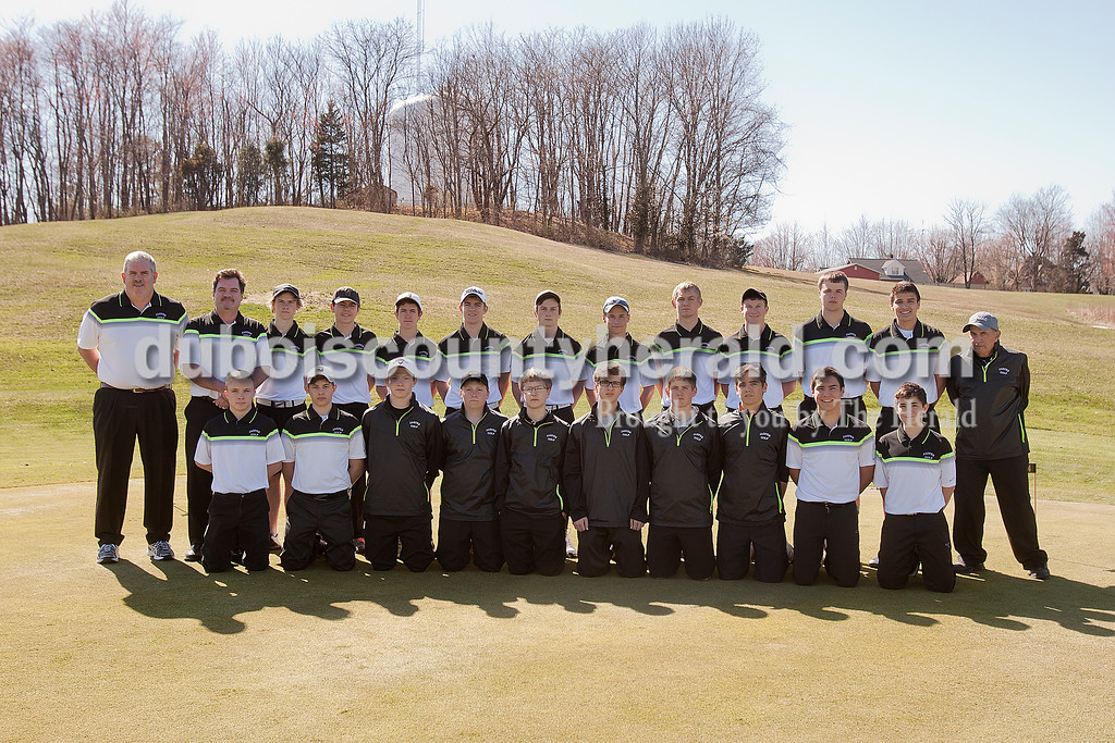 Members of the Jasper boys golf team are, from left, first row: Trey Matheis, Matt Lottes, Max Otto, Evan Wolfe, Evan Gress, Nolan Harmon, Noah Schroering, Reece Beckman, Will Giesler and Connor Fritch. Second row: coach Mike Meyer, coach John Bertges, Kade Nicholson, Bryan Hagan, Carson Pierce, Josh Krempp, Luke Lehane, Reid Lorey, Austin Kleiser, Nick Monesmith, Aaron Persohn, Alex Korn and coach Steve Milligan.