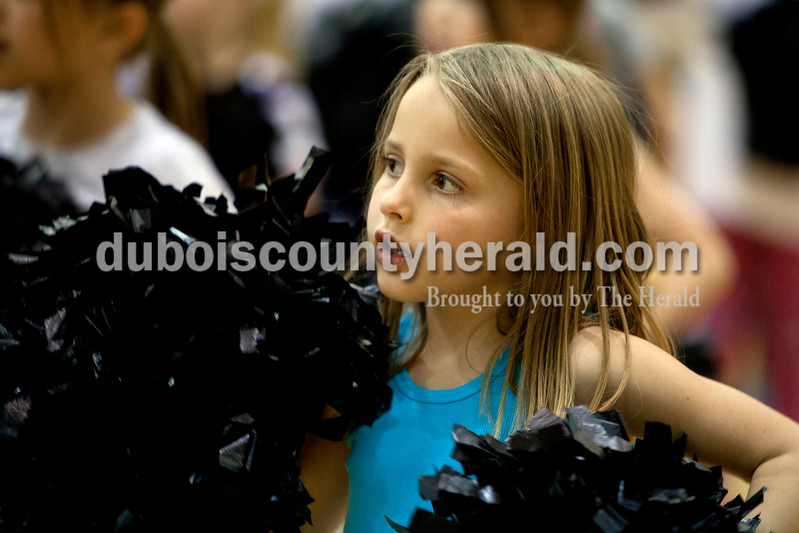 Ariana van den Akker/The Herald<br /> Kaydance Seidl of Jasper, 6, learned a cheer during High Ponies, a free cheer and dance clinic for kindergarteners to fifth-graders that includes life lessons, on Tuesday evening at Jasper Middle School.