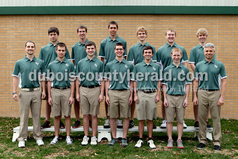 Members of the Forest Park boys golf team are, from left, first row: Coach Drew Thurman, Aaron White, Travis Nord, Phillip Rogier, Matt Miller, Bryce Brosmer and coach Chris Tretter. Second row: Dylan Greulich, Addison Weyer, Matthew Nonte, Levi Hoffman, Evan Weyer and Zachary Wendholt.