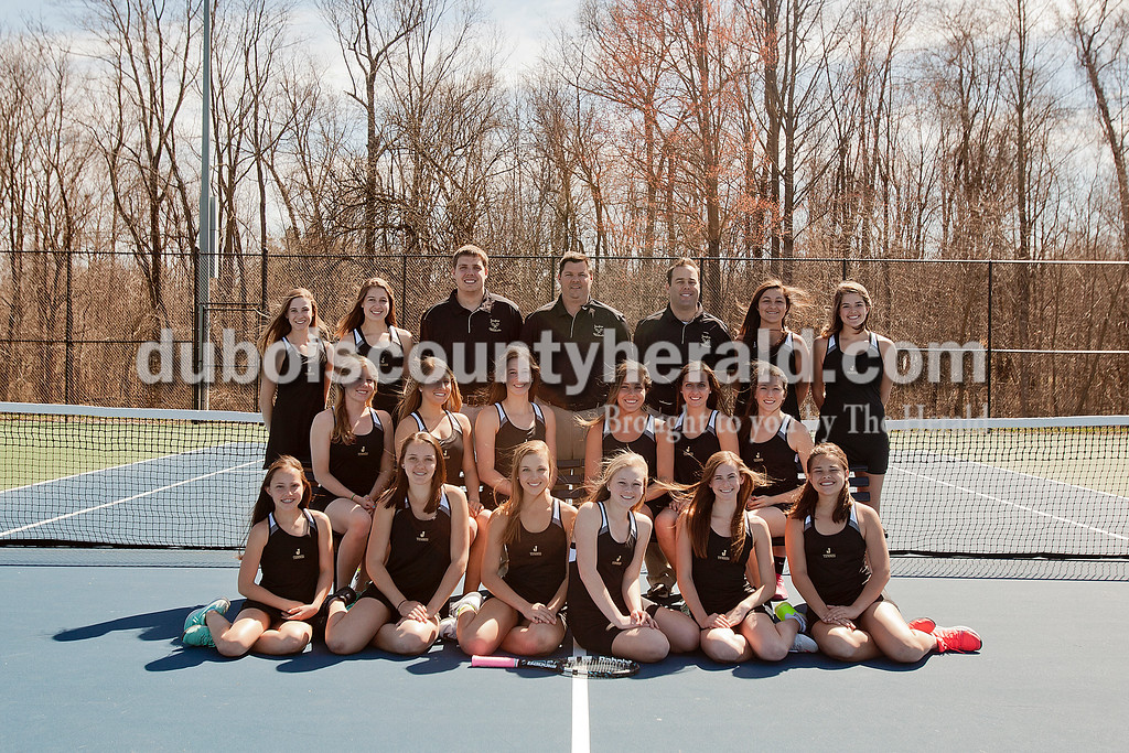 Members of the Jasper girls tennis team are, from left, first row: Aubrey Williams, Olivia Yarbrough, Caroline Theil, Averie Himsel, Sarah Monesmith and Maggie Getzin. Second row: Claire Egler, Anna Flick, Elisabeth Ahlbrand, Emma Seger, Emma Yarbrough and Maria Lueken. Third row: Kathleen Messmer, Mallory Ahlbrand, coach Pete Wilson, coach Scott Yarbrough, coach Jeff Hayes, Jillian Seger and Ashley Hale.