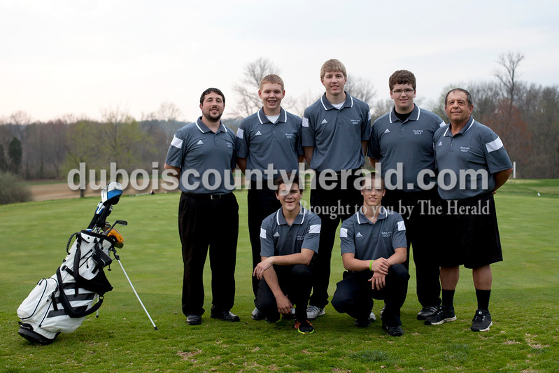 Members of the Southridge boy's golf team are, from left, first row: Mitch Steinkamp and Drew Dearing. Second row: head coach Brock Matthews, Brayden Wibbeler, Cam O'Bryan, Luke Taylor and assistant coach Steve Winkler.