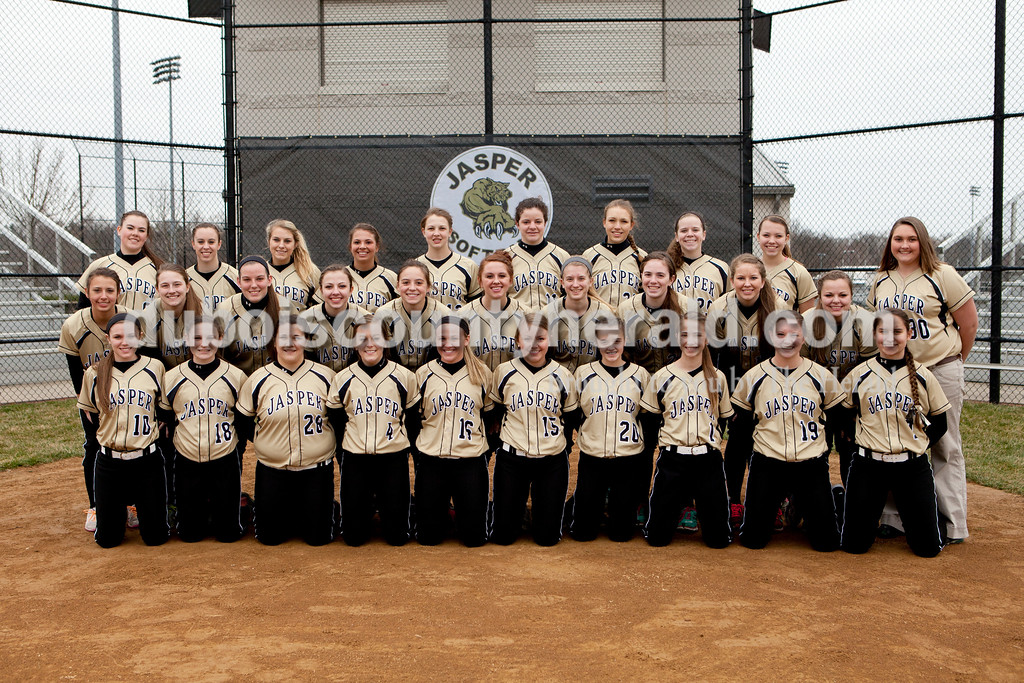Members of the Jasper softball team are, from right to left, first row: Abby Libbert, Grace Werner, Olivia Burger, Mariah Seifert, Nicolette Eckert, Bailee Seifert, Kelsey Thomas, Hailey Hurst, Paige Werner and Erin Terwiske. Second row: Alexa Stenftenagel, Jocelynn Morrow, Faith Barnett, Jessica Mehringer, Lexie Rohlman, Logan Sellers, Elizabeth Sander, Molly Mehringer, Kelsey Foster, Lindsay Mehringer and manager Colleen Hopf. Third row: Olivia Knies, Emma Hopf, Anna Edwards, Kennedie Margarida, Katelyn Hedinger, Hannah Colvin, Allison Reckelhoff, Maria Gobert and Kathryn Wigand.