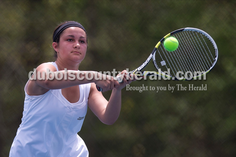 Jasper's Jillian Seger returned the ball during the match against McCracken County in the Jasper Four-Team Invitational on Saturday. Jasper lost to McCracken County 3-2. <br /> <br /> Alisha Jucevic/The Herald