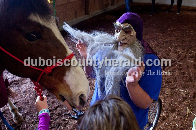 Danielle Murray of Jasper, 17, flicks the hair on a mask toward one of the horses during a Red Hats Purple Chaps horse de-spooking clinic at A&B farms in Ireland. The horses are walked through different obstacles and next to noises that they may encounter during a parade. This helps ensure safety for the horses and the crowd during future parades. <br /> <br /> Alisha Jucevic/The Herald