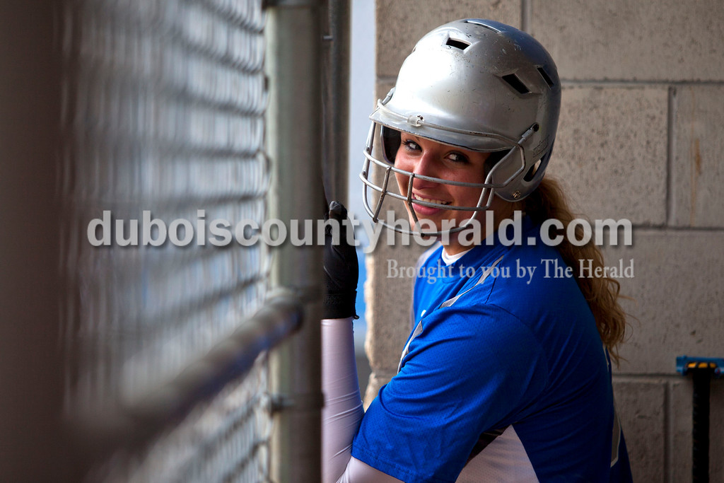 Northeast Dubois'  Kendra Jacob talked with her teammates in the dugout during Tuesday night's game against Barr-Reeve in Dubois. The Jeeps lost 8-2. <br />  <br /> Alisha Jucevic/The Herald