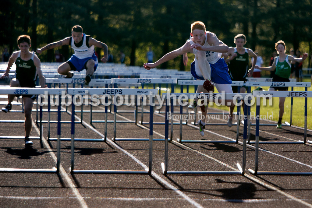 Northeast Dubois' Evan Betz led the pack in the 110 meter hurdles during Tuesday evening's track meet at Northeast Dubois. The Jeeps placed first with 180 points, the Rangers second with 120 points and Southridge fourth with 72 points. Ariana van den Akker/The Herald